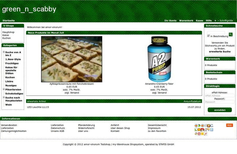 Demoshop mit dem Shoptemplate green_n_scabby