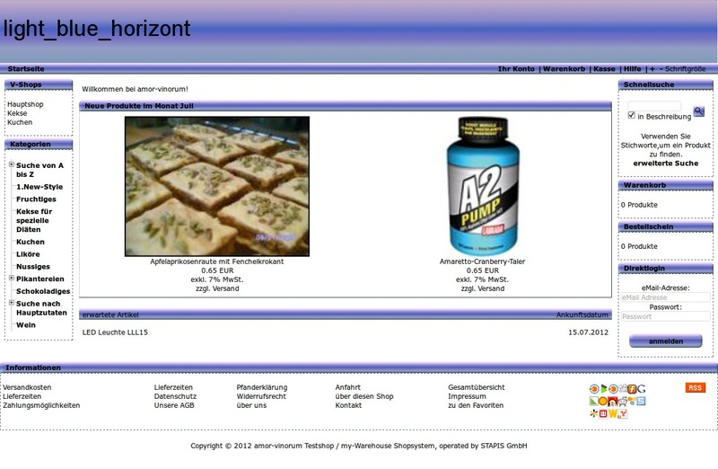 Screenshot des Demoshops mit dem Standardtemplate light_blue_horizont