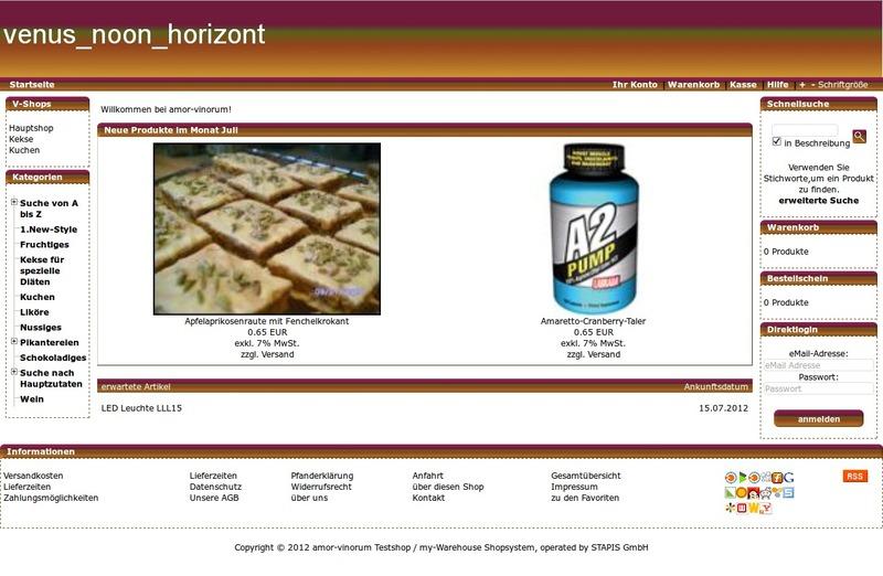 Screenshot des Demoshops mit dem Standardtemplate venus_noon_horizont