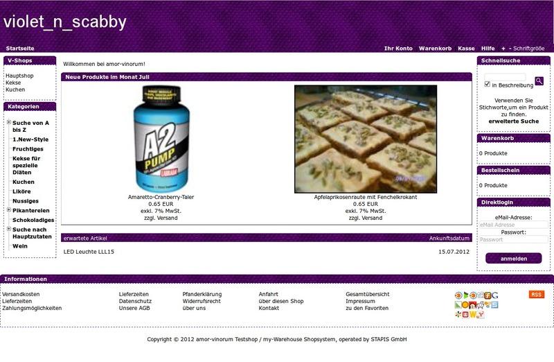 Demoshop mit dem Shoptemplate violet_n_scabby