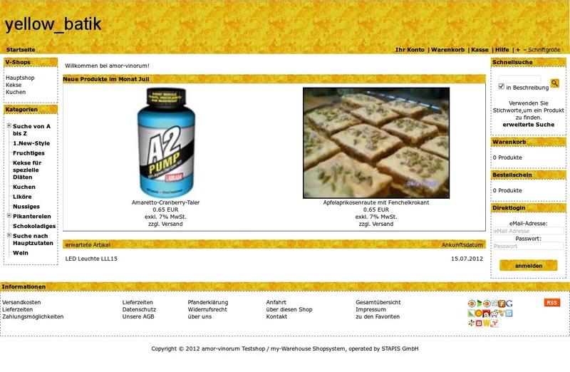 Demoshop mit dem Shoptemplate yellow_batik